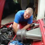 A picture of our very own mobile mike doing some hard mobile mechanic servicing